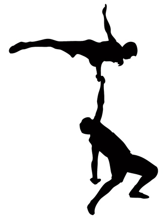 Performance of two acrobats.