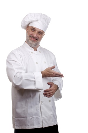 Portrait of a caucasian chef in his uniform on a white background. Stock Photo - 15801546