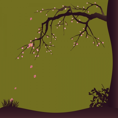 scenical: Decorative design with a blossoming plum tree Illustration