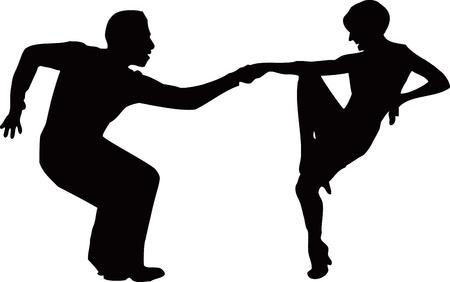 Dancing quick dance man and woman.   Vector