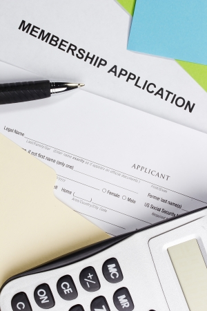 Directly above photograph of a membership application. Stock Photo - 15866484