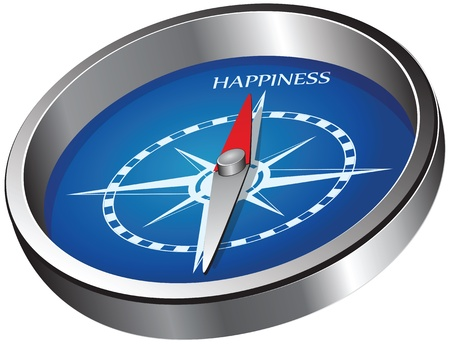 Creative compass indicating the direction of happiness