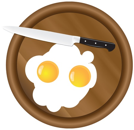 Scrambled eggs with two yolks with a wooden kitchen board with a kitchen knife Stock Vector - 15866517
