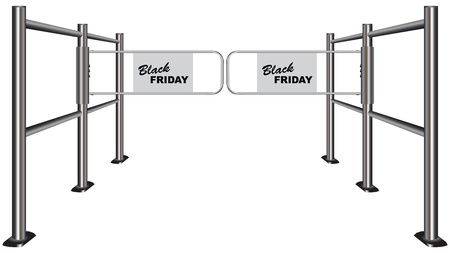 wicket gate: Turnstile marked Black Friday sales for the day Illustration