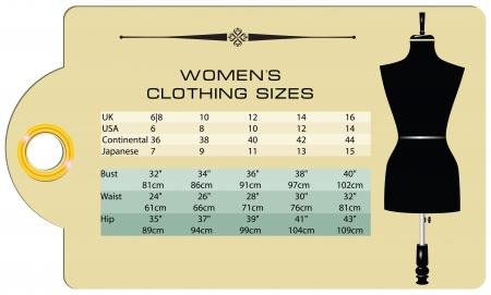 docket: Label with international clothing size for women Illustration