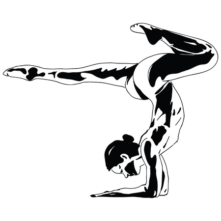 Woman with acrobatic performance. Sports. Vector illustration. Ilustrace