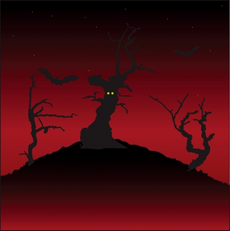 gnarled: Eerie landscape with frightening gnarled trees. Vector illustration. Illustration