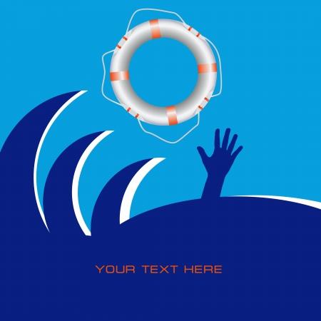 Designs on Life Saving with a lifeline. Vector illustration. Ilustração