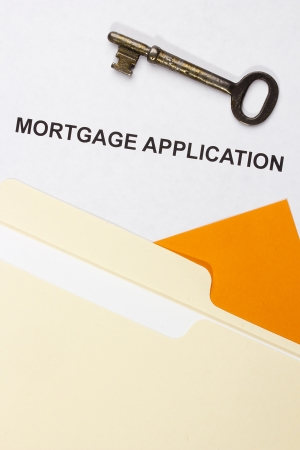 Directly above photograph of a mortgage application. photo