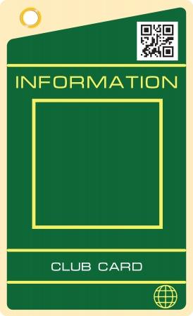 샘플 배치 정보가있는 클럽 카드. 벡터 일러스트 레이 션.
