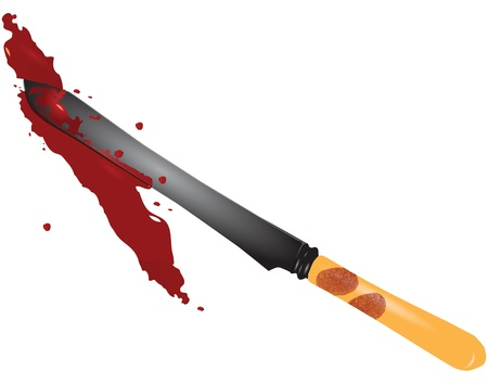 fingerprinted: Bloody fingerprints on the knife from the scene. Vector illustration. Illustration