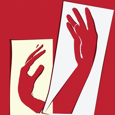 The composition of the paper application with the hands. Vector illustration.