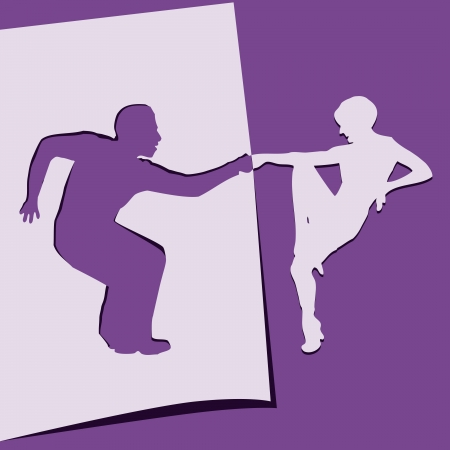 paper cut out: Application of paper dancing men and women. Vector illustration.