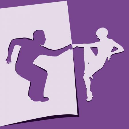 cut: Application of paper dancing men and women. Vector illustration.