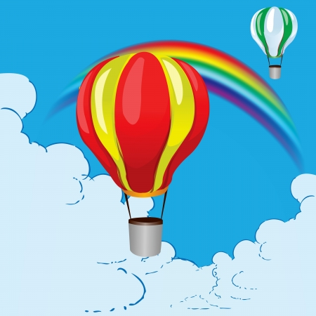 Balloons and a rainbow in the clouds. Vector illustration.