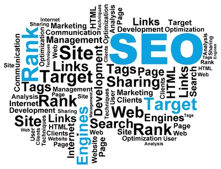 keywords link: Vector illustration of a wordcloud on the topic of search engine optimization.