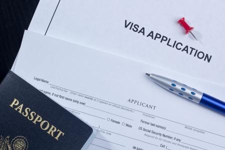 Direct boven foto van een aanvraag voor een visum.