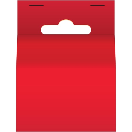 Cardboard packaging label with a hole to place the trading booth. Vector illustration.
