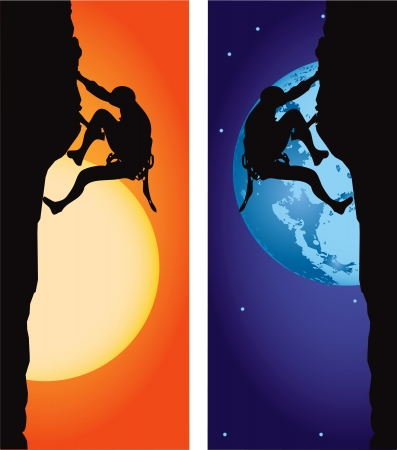 Climbing. Athlete on the ascent, options day and night. Vector illustration.