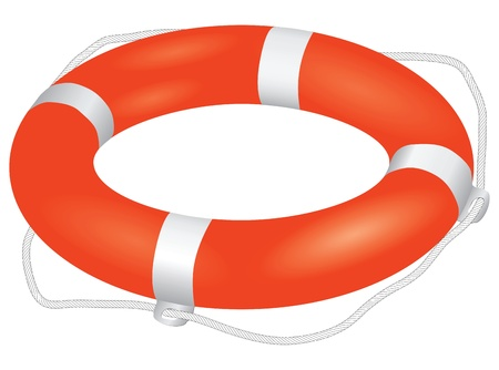 Universal instrument of salvation in the water - Lifebuoy. Vector illustration.