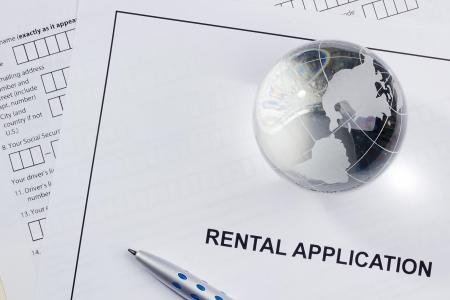 Directly above photograph of a rental application. Reklamní fotografie