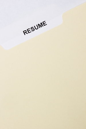 Directly above photograph of a resume title page. photo