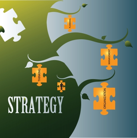 Vector illustration on the topic of strategy with related words in jigsaw puzzles. Vector