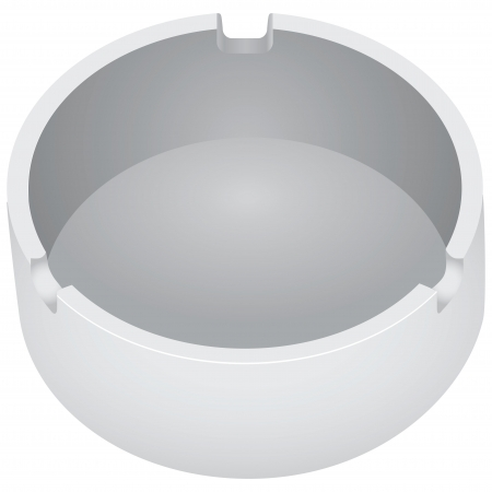 Round ceramic ashtray with a place to fix the cigarettes. Vector illustration.