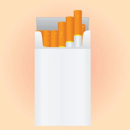 fag: The new open pack of cigarettes. Vector illustration.