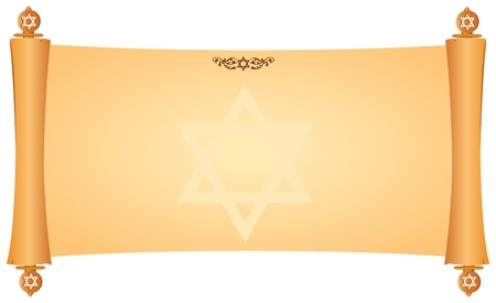 Parchment with symbols of the Jewish faith. Vector illustration.