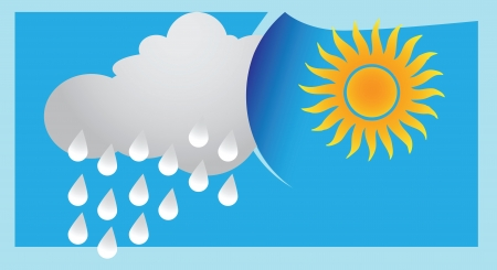 The difference in weather between sunny and rainy day  Vector illustration