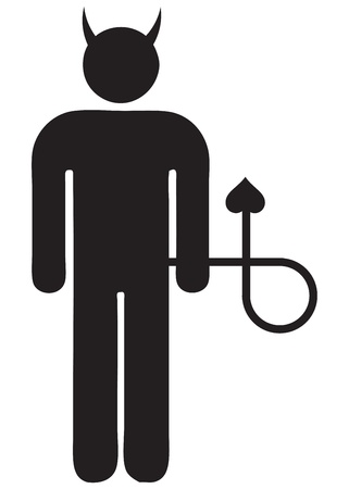 Icon man with a tail and horns  Vector illustration