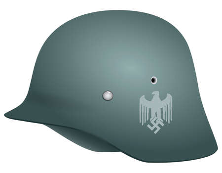 seconda guerra mondiale: Elmetto tedesco della Seconda Guerra Mondiale. Illustrazione vettoriale. Vettoriali