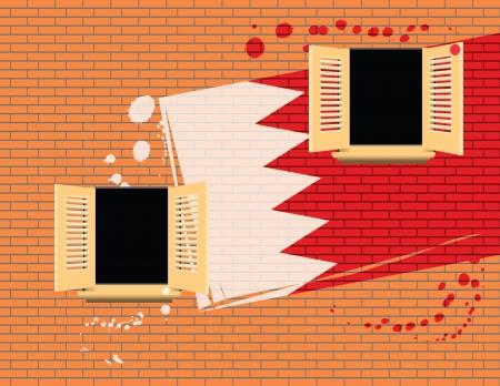 Symbol of statehood - a flag. Bahrain flag painted on a wall. Vector illustration. Stock Vector - 16137827