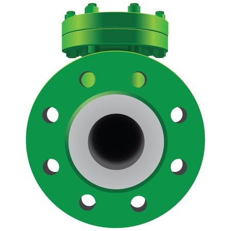 Check Valve pipe water metal steel piston industrial plumb refinery liquid gas oil wheel pipeline. Vector illustration