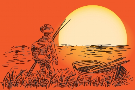 shallop: The fisherman with a boat against the setting sun. Vector illustration.