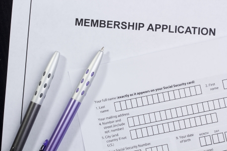 Directly above photograph of a membership application.