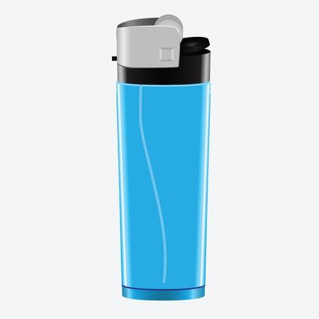 Plastic cigarette lighter blue. Object.