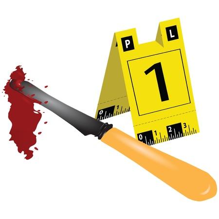 criminal: Knife with a criminal scene.