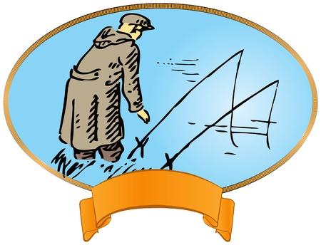 canna pesca: Etichetta dell'annata di pesca. Pescatore con una canna da pesca.