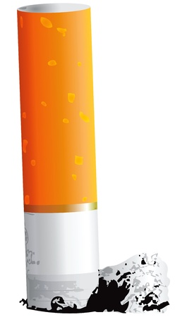 ash: Small cigarette butt with ash. Vector illustration.