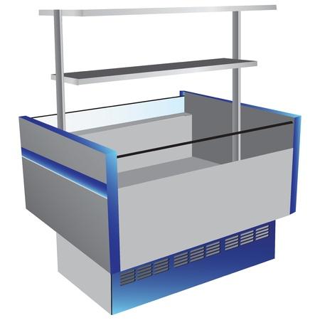 Lage temperatuur koelkast als commerciële apparatuur met bovenste plank. illustratie.