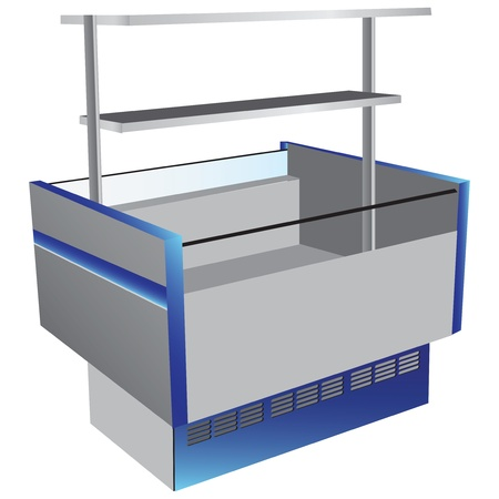 Low temperature refrigerator as commercial equipment with top shelf.  illustration.