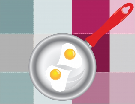 scenical: Frying pan with fried eggs on the background of the kitchen towel.  illustration.