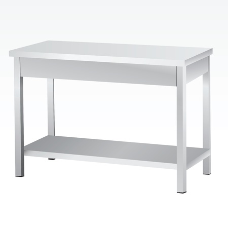 steel: Stainless steel tables for culinary and commercial premises. illustration. Illustration