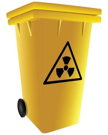 Symbol of radioactive waste in a trash can. illustration. Illusztráció