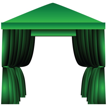 gazebo: Awning for celebrations with fabric as the curtains.  illustration.