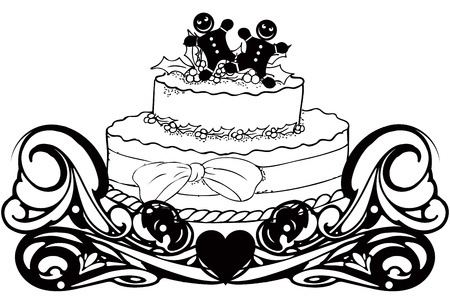 christmas cake: Vintage with a cake for Christmas cookies with figures.  illustration.