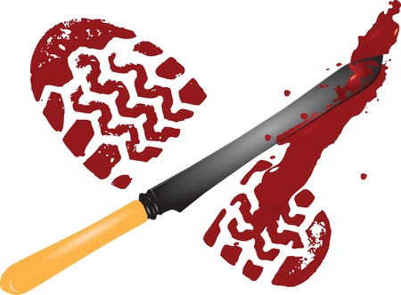 Blood imprint foot from the scene.  illustration. Ilustracja