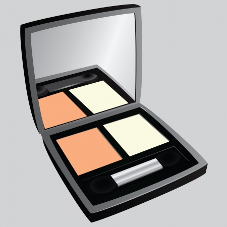 paint container: Cosmetic eye shadow with mirror.  illustration.
